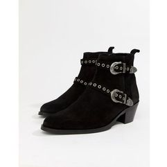 cuban heel boots in black suede with silver western buckles - black, Asos design