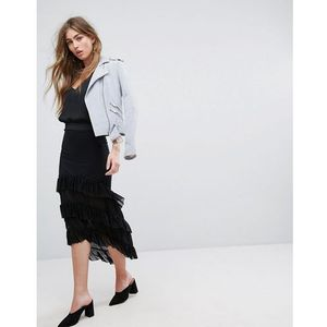 River Island Tiered Ruffle Hi Low Maxi Skirt - Black, kolor czarny
