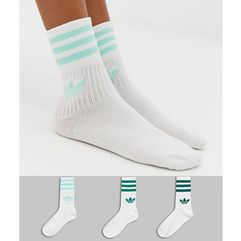 3 pack solid crew socks in green - green, Adidas originals