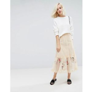 midi skirt in mesh with embroidery - pink, Lost ink