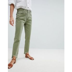 Mih Jeans Mimi High Rise Vintage Slim Jean with Raw Hem - Green