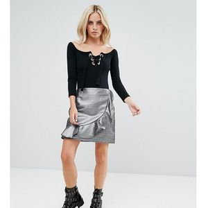 Glamorous petite mini skirt with ruffle trim in metallic faux leather - silver