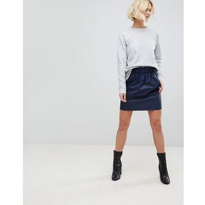 b.Young Paperbag Waist Skirt - Navy, kolor szary