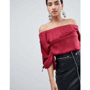 ruched sleeve top - red marki Ax paris