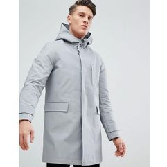 ASOS DESIGN hooded trench coat with shower resistance in grey - Grey
