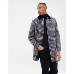 Asos design wool mix overcoat in navy check - navy