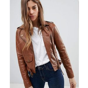 Barney's Originals Leather Biker Jacket with Diagonal Zip Detail - Brown, skóra