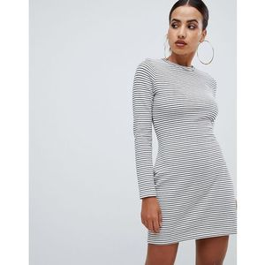 tie waist sweater dress in stripe - white marki Missguided