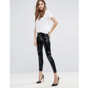 super patent zip up trousers - black, French connection