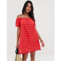 Accesorize broderie beach dress in red - Red, 1 rozmiar