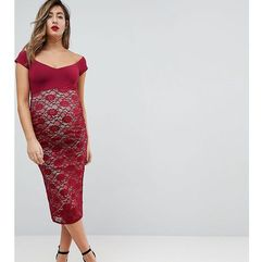 Asos maternity bardot lace midi bodycon dress - red