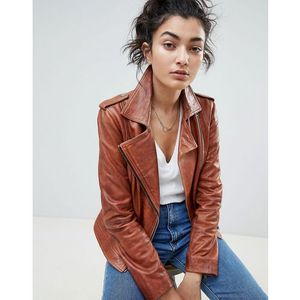 Barney's Originals Leather Biker Jacket - Tan, kolor Tan