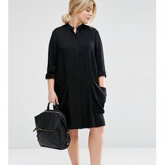 ASOS CURVE Shirt midi dress with Drape Pockets - Black