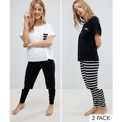 2 pack stripe and dreamy embroidered tee and legging pyjama set - multi marki Asos