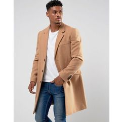 wool mix overcoat in camel - tan marki Asos