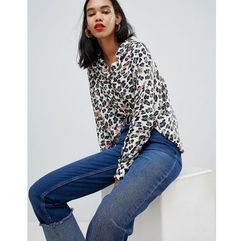 cropped shirt in jewelled animal print - multi marki Asos design