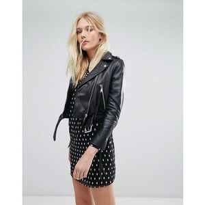 Lab Cropped Leather Jacket with Belt - Black, kolor czarny