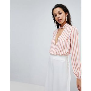 Parallel lines wrap front top with high collar in stripe - multi