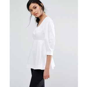 Closet london cotton top with pephem - white