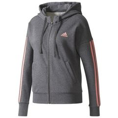 Adidas bluza ess 3 stripes full zip hoodie dark grey heather/tactile rose l