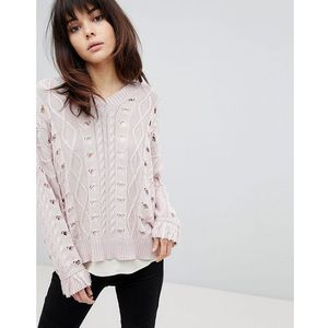 Religion Cable Knit Jumper - Pink