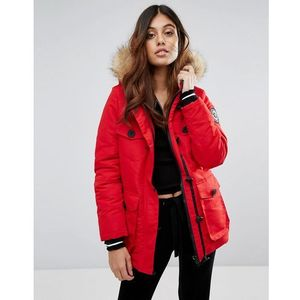 Brave soul riverdale heavy parka with rubberised trims - red