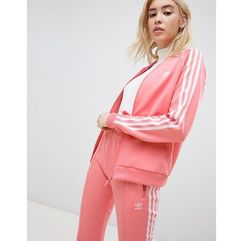 Adidas originals three stripe track jacket in pink - pink
