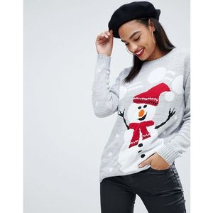 Club L christmas jumper with snowman intarsia design - Grey, kolor szary