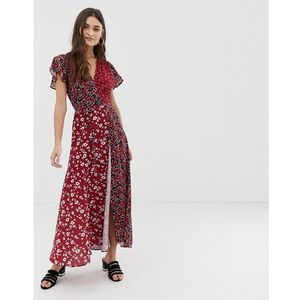 French connection v neck wrap maxi dress - multi