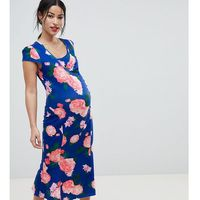 nursing midi dress with wrap front in floral print - multi marki & you