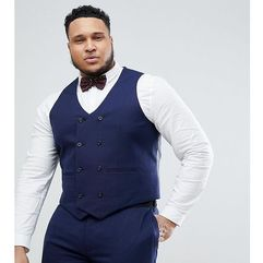 ASOS DESIGN Plus Wedding Skinny Suit Waistcoat In French Navy Micro Texture - Navy, kolor szary
