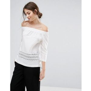 Selected Off Shoulder Lace Detail Top - White