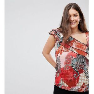 one shoulder paisley print frill blouse - multi, Lovedrobe