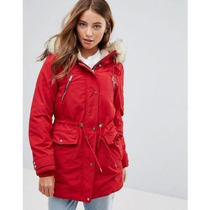 Pimkie Zip Detail Parker With Faux Fur Hood - Red