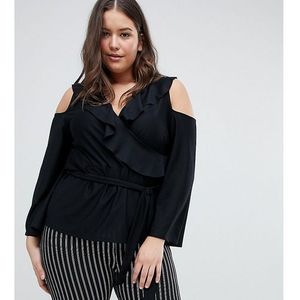 Asos design curve wrap top with ruffle cold shoulder - black marki Asos curve
