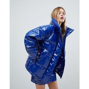 Monki patent padded coat - blue