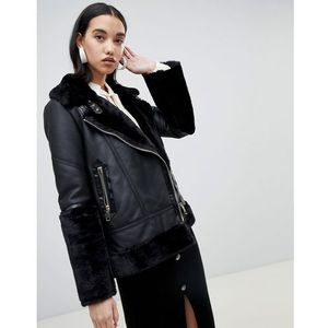 studio leather aviator jacket in black - black marki River island