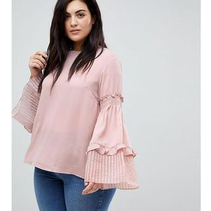 smock top with tiered wide ruffle sleeves - pink, Lost ink plus
