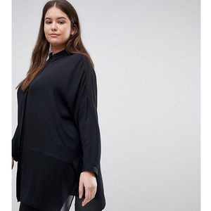 Asos design curve soft long sleeve shirt in sheer and solid - black, Asos curve