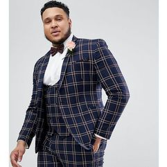 Asos design plus wedding super skinny suit jacket in navy waffle check - navy