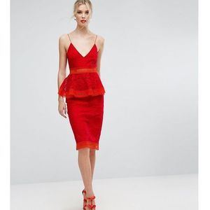Asos tall salon colourblock lace peplum midi dress - red, Asos edition
