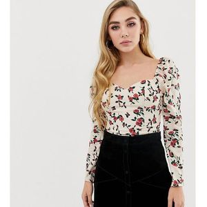 Fashion Union square neck long sleeved top in floral - Cream
