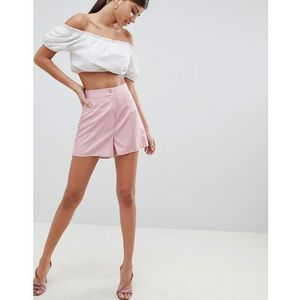 Fashion Union Smart Shorts In Fine Stripe Co-Ord - Pink