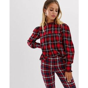smock top in tartan - red marki Wednesday's girl