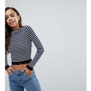 high neck polo in stripe with lace trim - multi marki Asos petite