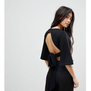 Fashion union petite wrap crop top with open back and wide sleeves - black