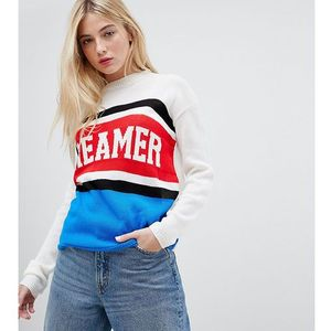 jumper with dreamer design in colour block knit - multi marki Daisy street