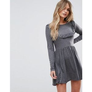 Brave Soul Tippie Skater Dress With Frill Bib - Grey, kolor szary