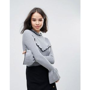 Soaked in luxury high neck jumper with frill detail - grey