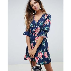 Influence V Neck Floral Tea Dress With Gathered Sleeve - Blue